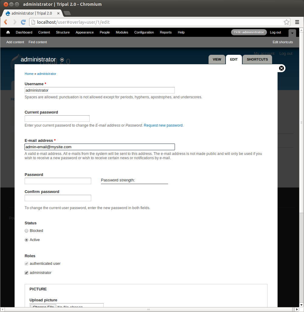 Tripal2.0 drupal user edit page.png